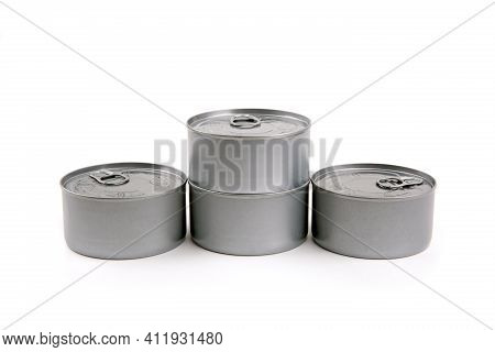 Aluminium Cans Isolated On White Background. Shot In Studio