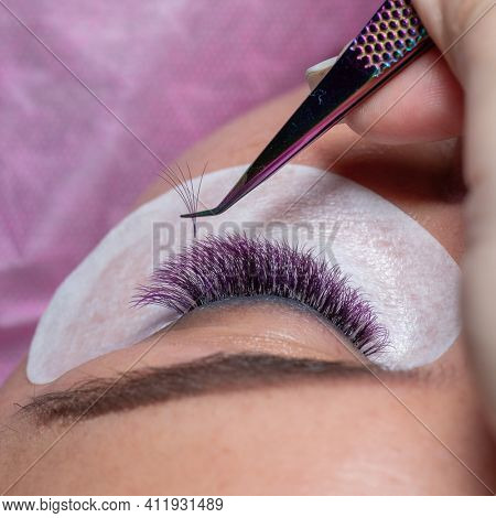 Treatment beauty procedure of upgrade with purple Eyelashes Extension with tweezers Woman Eyes with long extended colorful lashes