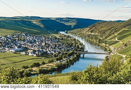 Beautiful Moselle Valley With View To Trittenheim In Germany