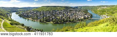 View To Beautiful Bern Kastel Kues And The River Moselle In Germany