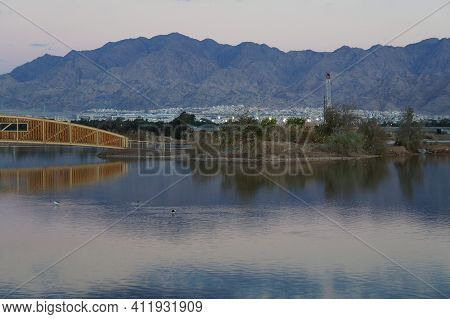 Lake In The Ornithological Park In Early Night,  Selective Focus