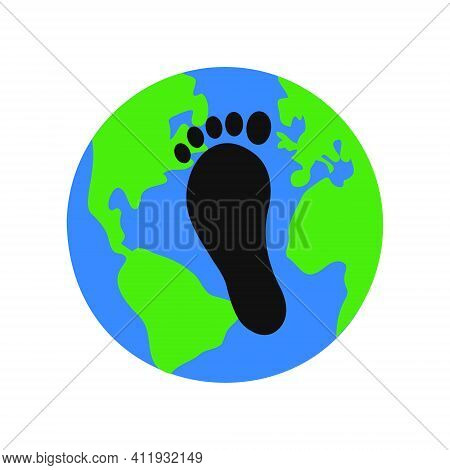 Earth Planet And Black Carbon Footprint On It. Environmental Pollution Symbol. Reducing Emissions Of