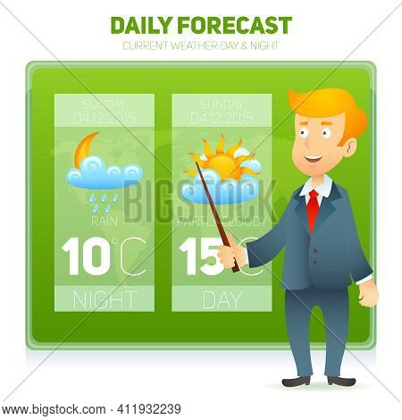 Tv Weather Prediction Forecast Male News Reporter Background Vector Illustration