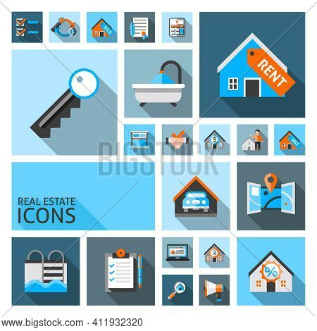 Real Estate Icons Set With Garage Location Search Contract Isolated Vector Illustration