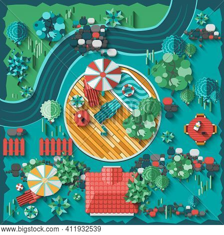 Landscape Design Composition With Top View Gardening And Outdoors Elements Vector Illustration