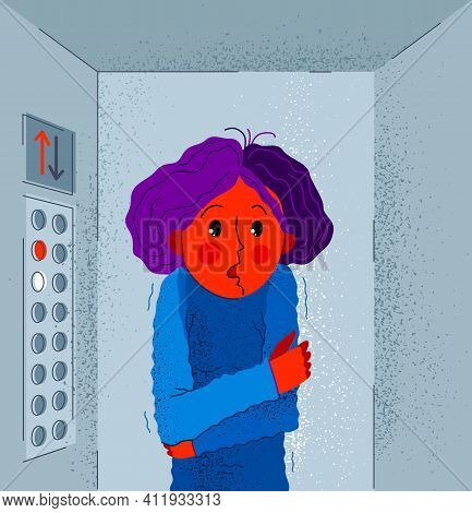 Claustrophobia Fear Of Closed Space And No Escape Vector Illustration, Girl Is Closed In Elevator An