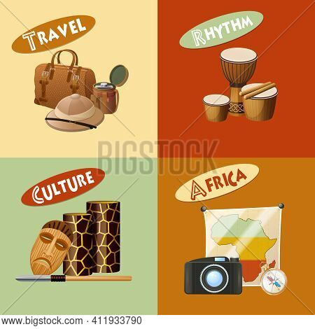 African Design Concept Set With Travel Rhythm Africa Culture Icons Isolated Vector Illustration