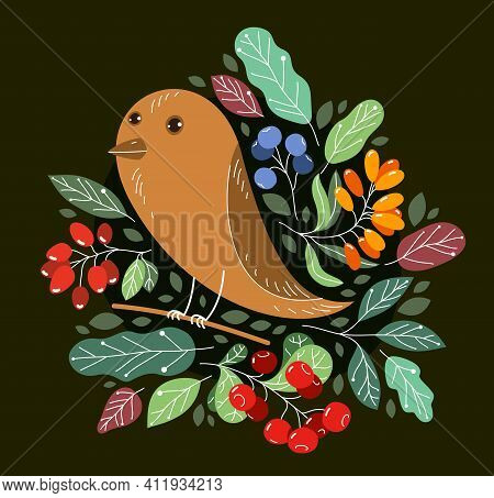 Small Cute Bird On A Branch Surrounded By Wild Berries And Leaves Vector Flat Style Illustration On
