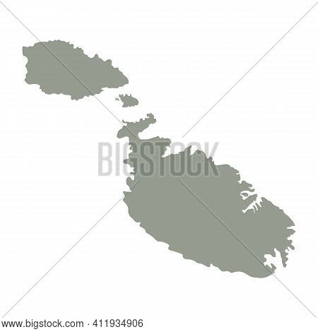 Silhouette Of Malta Country Map. Highly Detailed Editable Gray Map Of Malta, European Land Territory