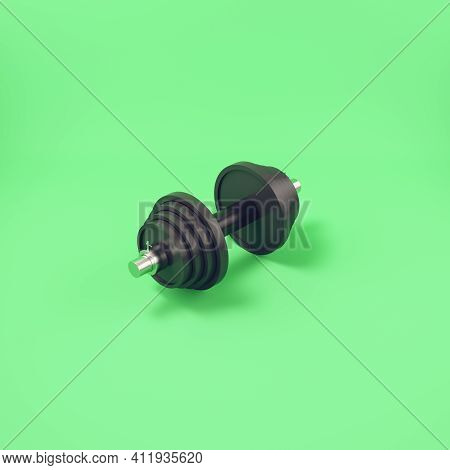 Barbell On Bright Green Background. 3d Render