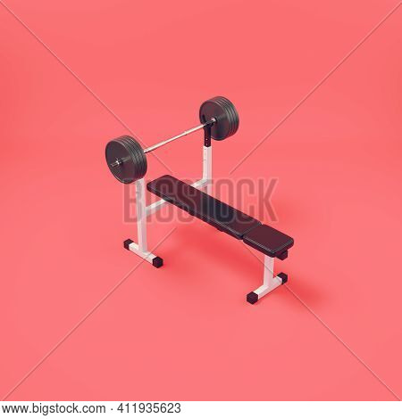 Barbell With Bench On Bright Red Background. 3d Render