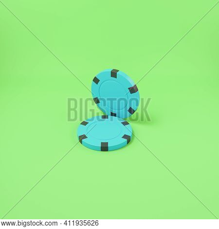 Two Poker Chips On Bright Green Background. 3d Render
