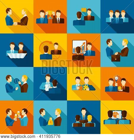 Partnership Flat Icons Set With Business Executive And Employees Isolated Vector Illustration