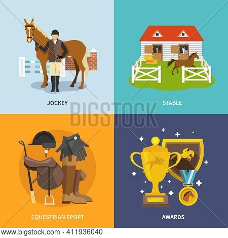 Jockey Design Concept Set With Stable Equestrian Sport Awards Flat Icons Isolated Vector Illustratio