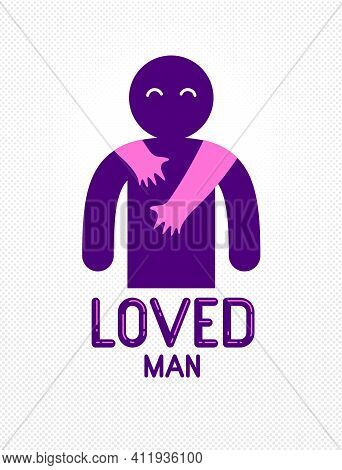 Loved Man With Care Hands Of A Lover Woman Hugging And Caresses His Shoulders, Vector Icon Logo Or I