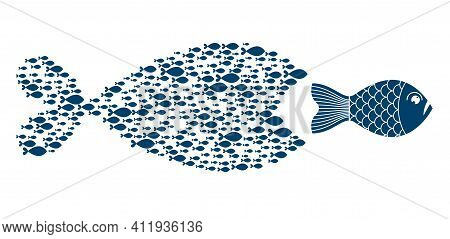 Teamwork Concept A Lot Of Small Fishes Creates Team In A Shape Of Big Fish And Trying To Eat Bigger