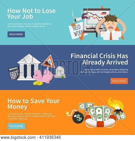 Economic Crisis Horizontal Banners Set With Job Loss Money Save Flat Elements Isolated Vector Illust