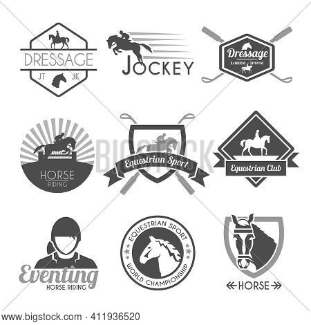 Jockey Label Dressage Sport Club Emblems Black Set Isolated Vector Illustration