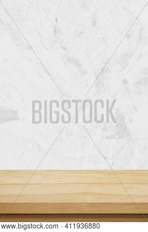 Vertical Brown Wood Table And White Cement Wall Background In Kitchen, Wooden Shelf, Counter For Foo