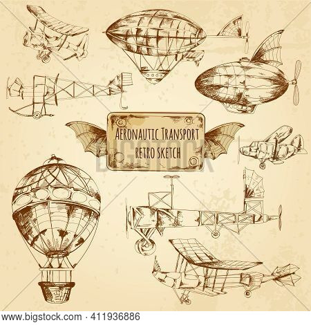Retro Aviation Aeronautic Transport Sketch Decorative Icons Set Isolated Vector Illustration