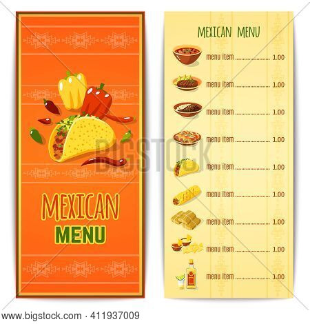 Mexican Restaurant Menu Template With Traditional Spicy Food Cuisine Vector Illustration