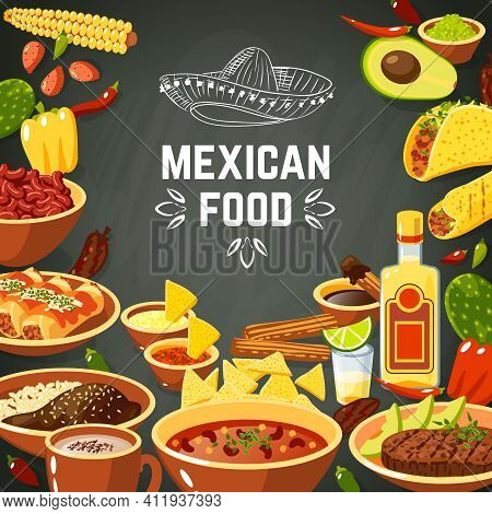 Mexican Food Background With Traditional Spicy Meal And Chalkboard Hat Vector Illustration