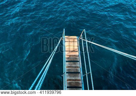 Boat Ladder Upper The Sea Water . Ladder Steps For Nautical Vessel