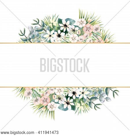 Rectangular Gold Frame With Small Flowers Of Actinidia, Bouvardia, Tropical And Palm Leaves. Wedding