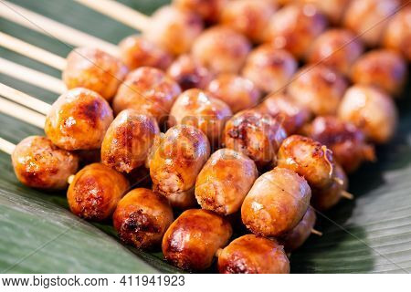 Close Up Of Sausage Grilled Thai Traditional Style, Sai Krok Isan, Pork And Rice, Thai Street Food M