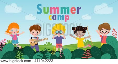 Kids Summer Camp Background Education Template For Advertising Brochure Or Poster, Happy Children Do