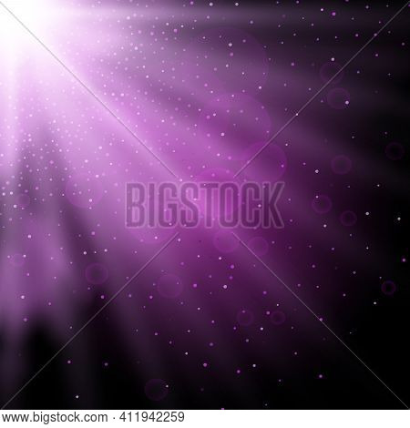 Putple Spotlight. Bright Lighting With Spotlights Of The Stage On Transparent Background
