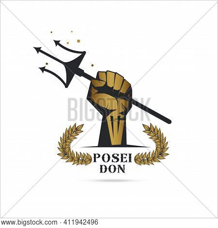 Logo Template Fist Hand Holding  Trident Isolate With Olive Branch With Thunder Symbol Of Greek God