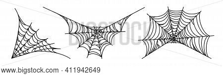 Spider Webs Isolated On White Background. Spooky Halloween Cobwebs. Outline Vector Illustration