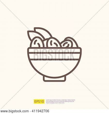 Dates Meal Iftar Line Icon For Muslim And Ramadan Theme Concept. Vector Illustration