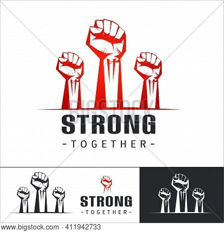 Clenched Fists Raised In Protest. Set Of Logo Template Three Human Hands Raised In The Air. Vector I