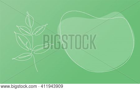 Nature Template Presentation Design With Branch Leaves. Template For Web Banner With Botany Plants T