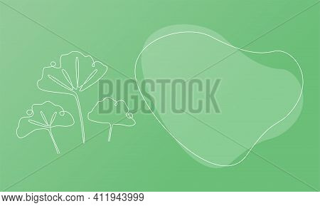 Nature Template Presentation Design With Ginkgo Biloba. Template For Web Banner With Botany Plants T