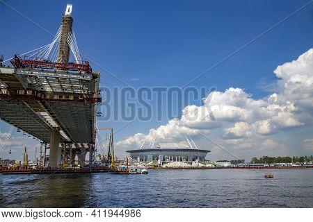 Russia, St.petersburg, July, 2016 - New Standing Obukhovsky Bridge Across The Neva Near Zenit Arena