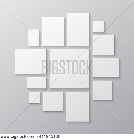 Vector Template Collage Board Thirteen Image Photo