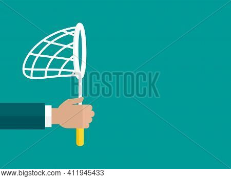 Businessman Hand Holds Butterfly Net. Catch, Hunt, Chase Symbol. Achieve Goals Or Dreams Creative Co