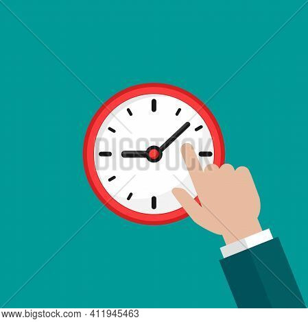 Hand With Red Clock Isolated On Blue Background. Fast Time Stop Watch, Limited Offer, Deadline Symbo