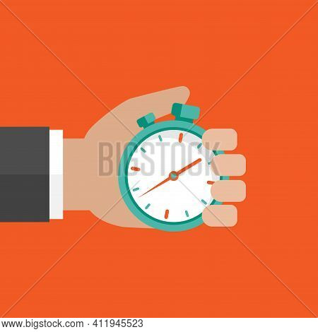 Hand With Blue Stopwatch Isolated On Orange Background. Fast Time Stop Watch, Limited Offer, Deadlin