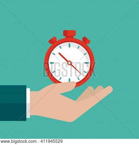 Hand With Red Stopwatch Isolated On Turquoise Background. Fast Time Stop Watch, Limited Offer, Deadl