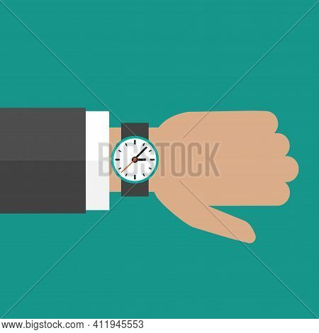 Hand With Watch Isolated On Turquoise Background.time Watch, Limited Offer, Deadline Symbol. Vector