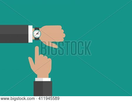 Businessman Hand With Wrist Watch And Pointing Hand On Turquoise Background.time Watch, Limited Offe