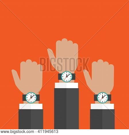 Three Hands With Watch Isolated On Red Background. Businessman With Time Watch, Limited Offer, Deadl
