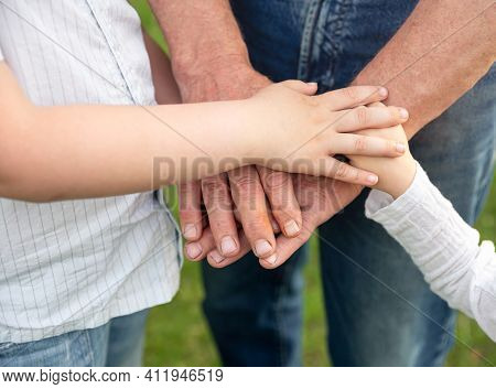 Hands Grandfather And Grandchildren In Summer Forest Nature Outdoor. Family Holding Their Hands Toge