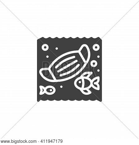 Ocean Polluted With Medical Mask Vector Icon. Filled Flat Sign For Mobile Concept And Web Design. Co