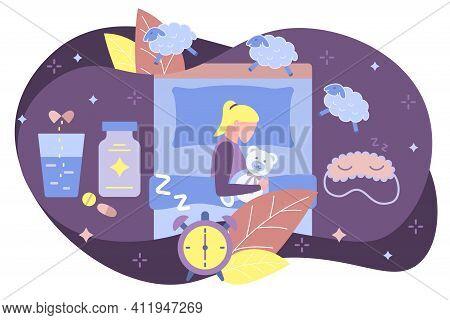 Girl Dressed Pajamas Sleeping In Bedroom At Night. Top View Of Teen Girl Resting In Her Bed Wearing