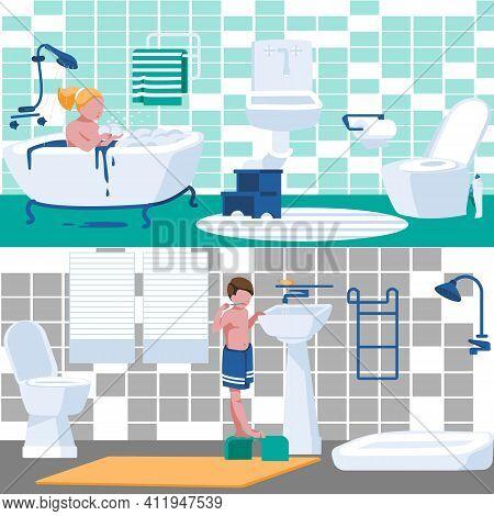 Children Daily Hygiene Routine In Bathroom. Bathroom Interior With Boy Brushing His Teeth And Girl B